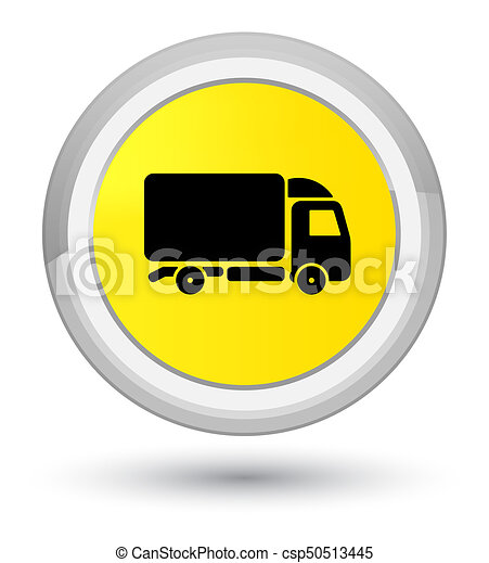 Truck icon prime yellow round button - csp50513445