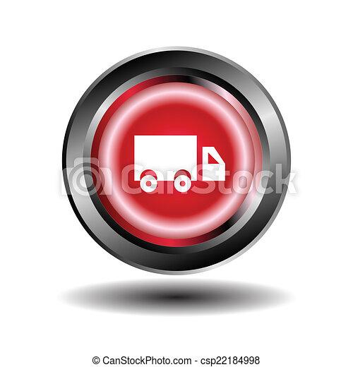 Truck icon Red round button - csp22184998