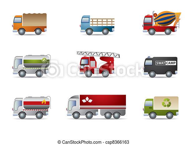 Truck icon set on white - csp8366163