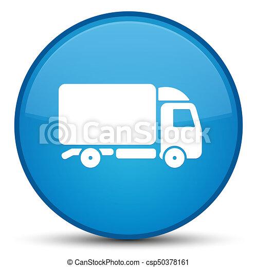 Truck icon special cyan blue round button - csp50378161