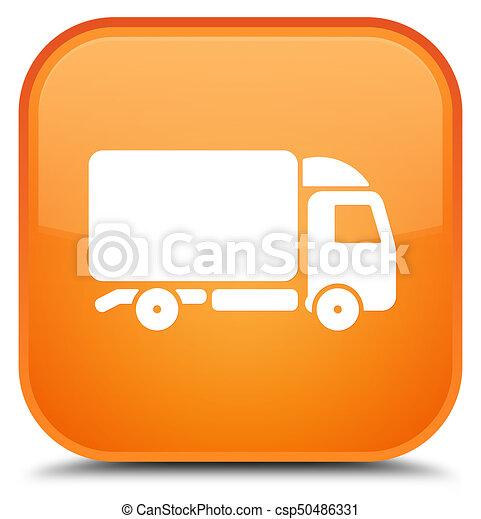 Truck icon special orange square button - csp50486331