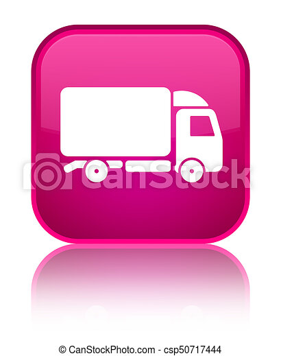 Truck icon special pink square button - csp50717444