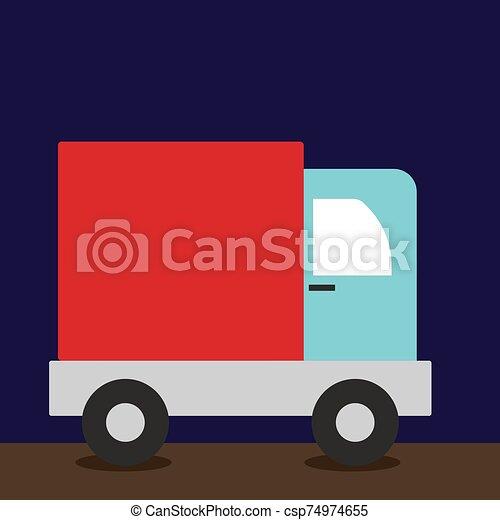 Truck, illustration, vector on white background. - csp74974655
