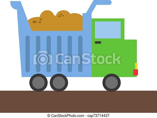 Truck, illustration, vector on white background. - csp73714437