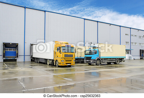Truck in warehouse - Cargo Transport - csp25632363