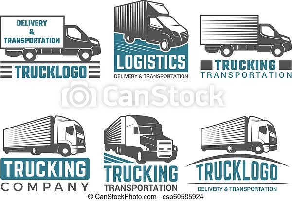 Truck logo  Business symbols emblems of transportation or logistics company  with illustrations of various truck  Vector silhouettes