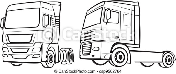 truck, lorry - silhouette - csp9502764