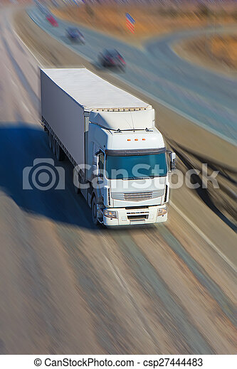 truck moves on highway - csp27444483