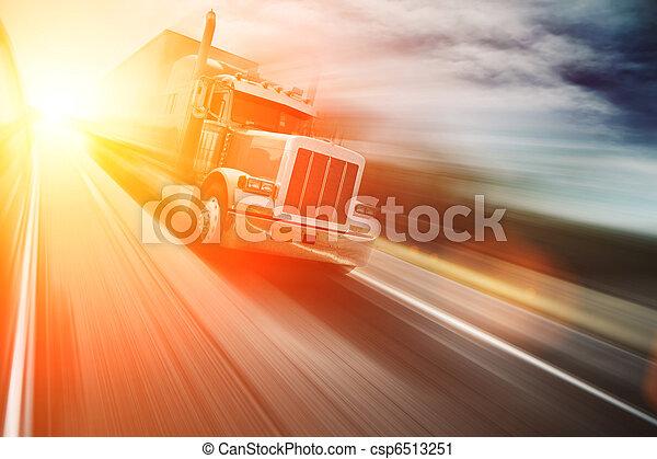 Truck on freeway - csp6513251