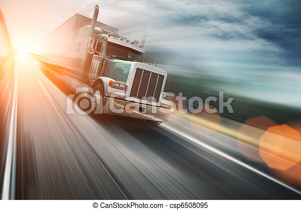 Truck on freeway - csp6508095