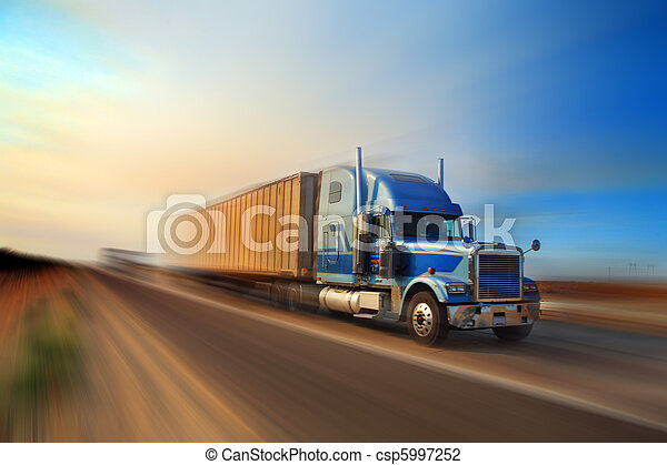 Truck on freeway - csp5997252