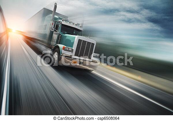 Truck on freeway - csp6508064