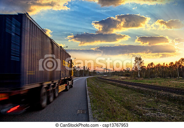 Truck on road - csp13767953