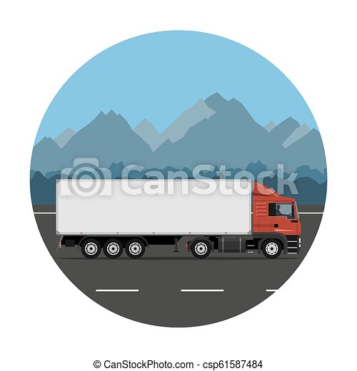Truck on the mountain road - csp61587484