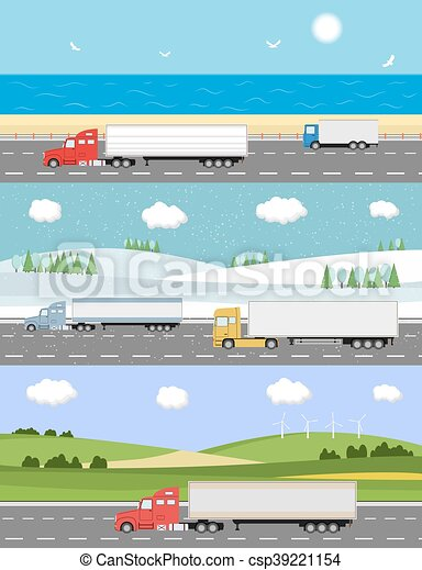 Truck on the road. Delivery concept. - csp39221154