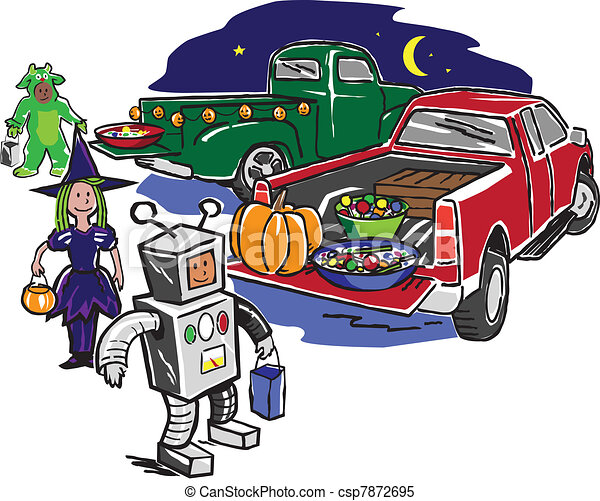 Truck or treat. Kids trick or treating from the back of ...
