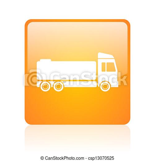 truck orange square glossy web icon - csp13070525