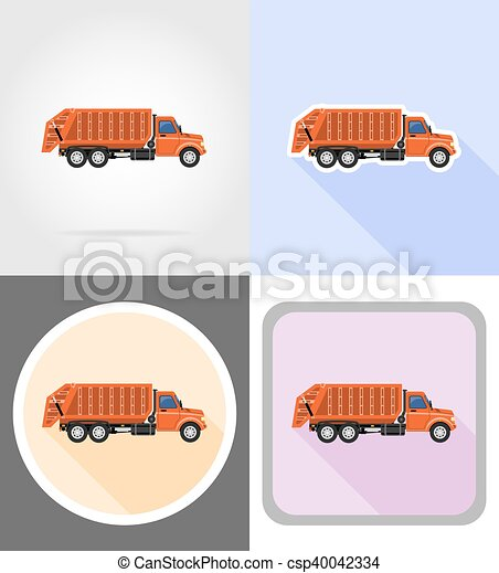 truck remove garbage flat icons vector illustration - csp40042334
