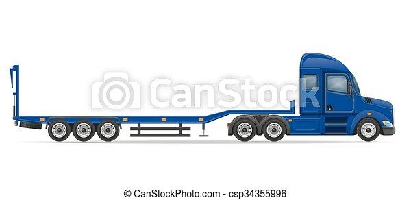 truck semi trailer for transportation of car vector illustration - csp34355996