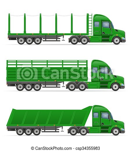 truck semi trailer for transportation of goods concept vector illustration - csp34355983