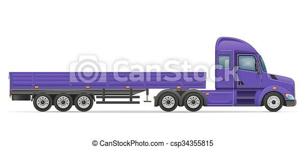 truck semi trailer for transportation of goods vector illustration - csp34355815