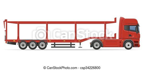truck semi trailer for transportation of car vector illustration - csp34226800