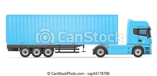 truck semi trailer vector illustration - csp34178798