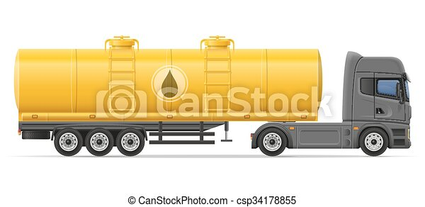 truck semi trailer with tank for transporting liquids vector illustration - csp34178855