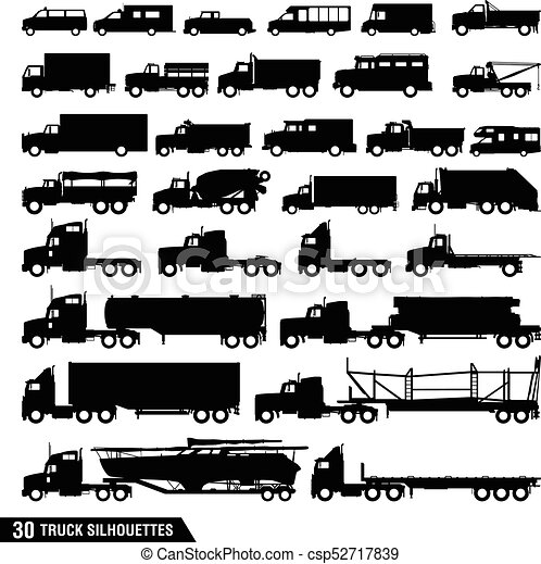 Truck Silhouettes Pack, Set of Truck Icons - csp52717839