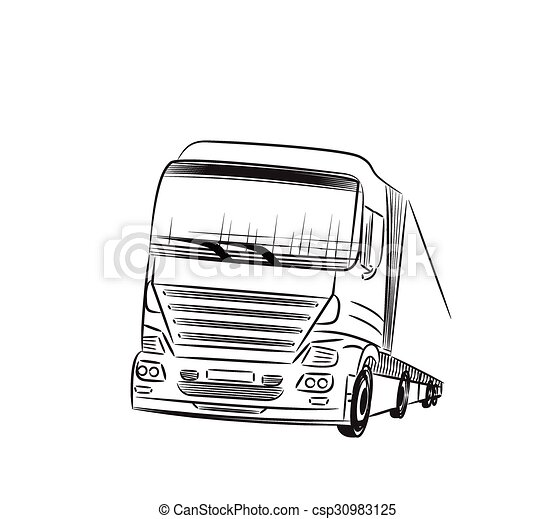 Truck sketch. . Sketch logistics and delivery poster. hand drawn ...
