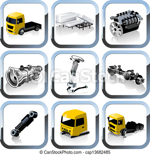 truck spares icons set - csp13682485