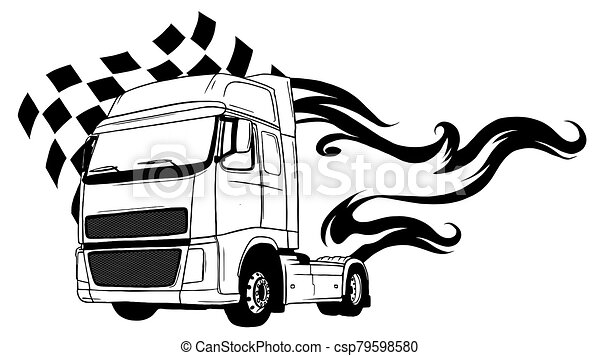 truck., tecknad film, design, halv-, vektor, illustration - csp79598580