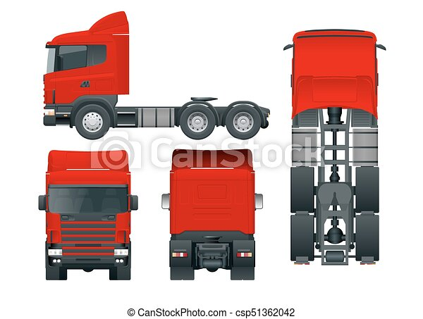 Truck tractor or semi-trailer truck. Cargo delivering vehicle template vector isolated illustration View front, rear, side, top. Car for the carriage of goods. Change the color in one click. - csp51362042
