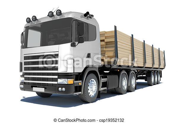 Truck transporting lumber - csp19352132