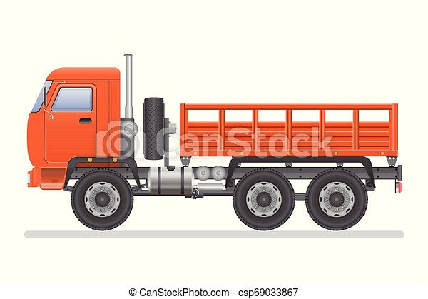 Truck vector illustration isolated on white background. Transportation vehicle. - csp69033867