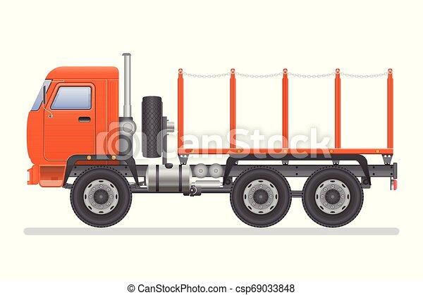 Truck vector illustration isolated on white background. Transportation vehicle. - csp69033848