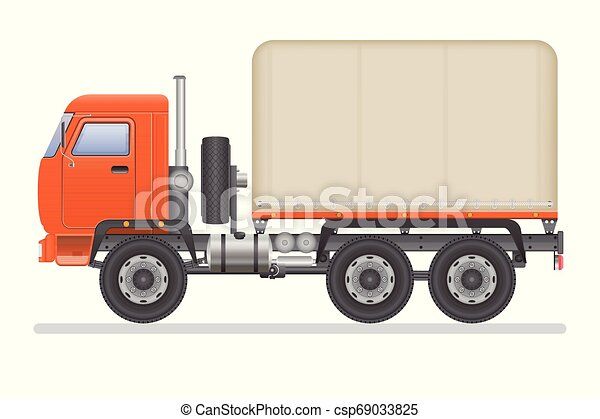 Truck vector illustration isolated on white background. Transportation vehicle. - csp69033825