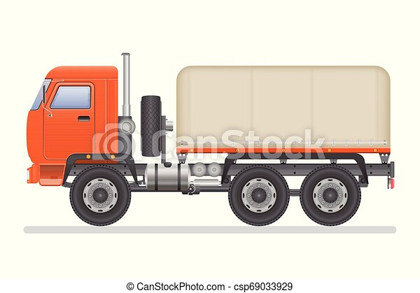 Truck vector illustration isolated on white background. Transportation vehicle. - csp69033929