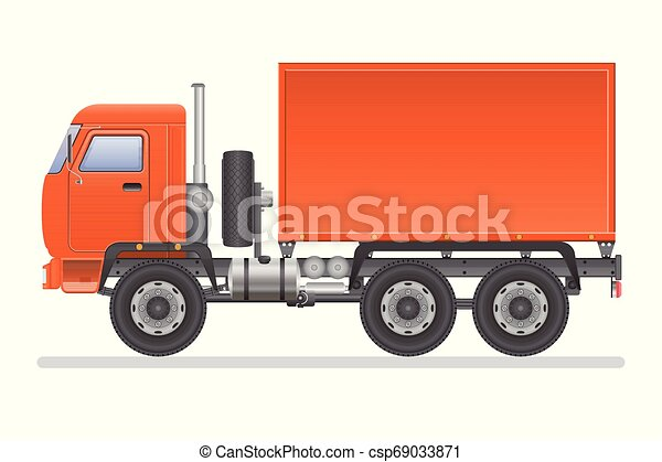 Truck vector illustration isolated on white background. Transportation vehicle. - csp69033871