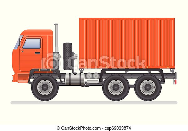 Truck vector illustration isolated on white background. Transportation vehicle. - csp69033874