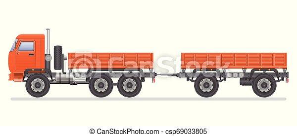 Truck vector illustration isolated on white background. Transportation vehicle. - csp69033805