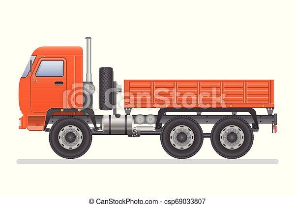 Truck vector illustration isolated on white background. Transportation vehicle. - csp69033807