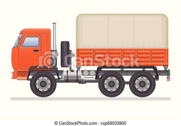 Truck vector illustration isolated on white background. Transportation vehicle. - csp69033900