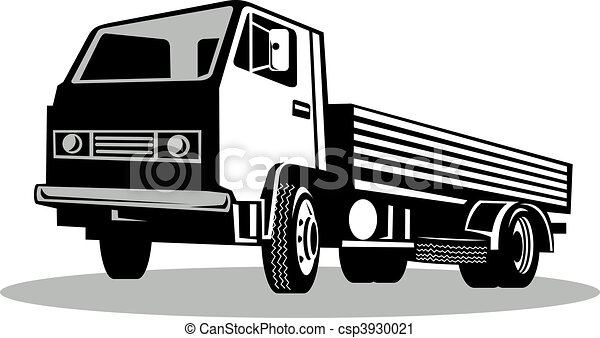 Truck viewed from a low angle isolated on white background - csp3930021