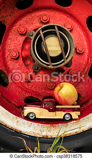 Truck Wheel Apple Truck - csp38318575