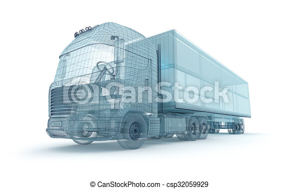 Truck with cargo container, wire model. My own design - csp32059929