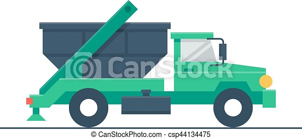Truck with garbage container - csp44134475