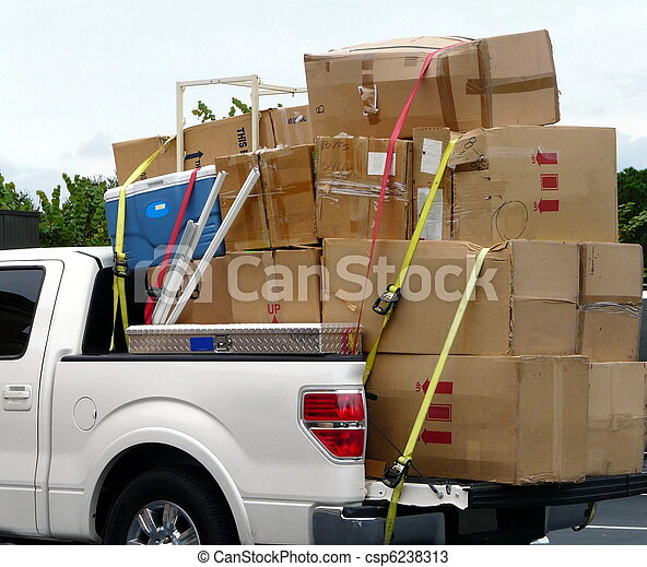Truck with Moving Boxes - csp6238313