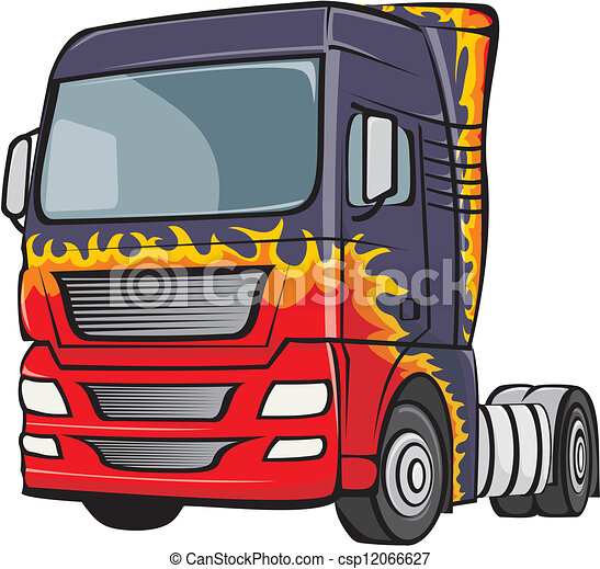truck with the body in flames - csp12066627