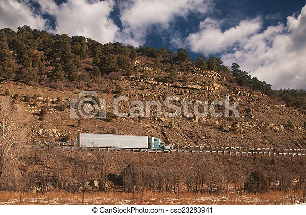 Trucking On Freeway - csp23283941